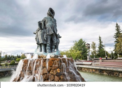 FAIRBANKS, ALASKA, USA - AUGUST 04, 2017 - The city center of Fairbanks, Alaska
