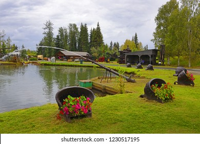 FAIRBANKS, ALASKA, USA - AUGUST 2, 2018: Gold Ruch Town in Pioneer Park. The city park commemorates early Alaskan history with multiple museums and historic displays on site.