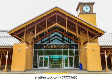 FAIRBANKS, ALASKA, USA - MAY 24, 2017: The Alaska Railroad Depot in Fairbanks outside the building.