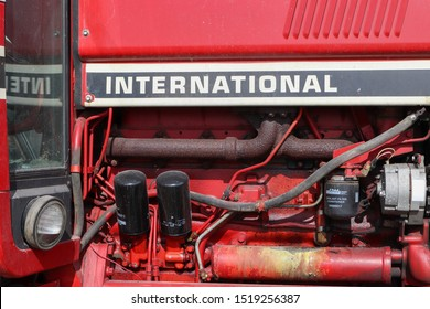 Fairbury Illinois September 25 2019 engine on red international tractor in central Illinois