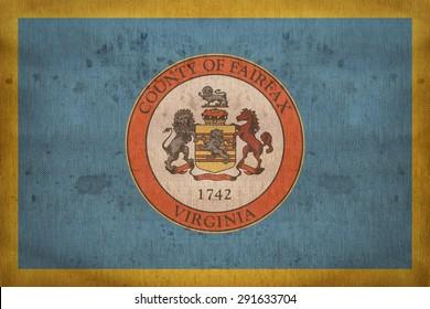 Fairfax County , Virginia flag on fabric texture,retro vintage style
