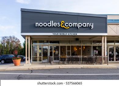 Fairfax, USA - December 3, 2016: Noodles & Company World Kitchen store facade in Virginia