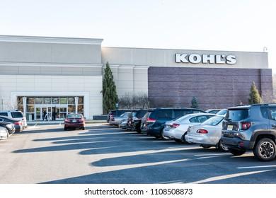 Fairfax, USA - November 24, 2017: Kohl's store entrance parking lot in Virginia shop store