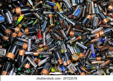 FAIRFAX, VA - CIRCA 2009: Batteries lie in a heap at an undisclosed recycling center circa 2009 in Fairfax.