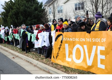 Fairfax, VA - December 14, 2017: The 60th vigil in memory of the Sandy Hook Elementary School massacre takes place outside of the National Rifle Association on the fifth anniversary of the shoot