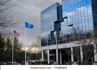 Fairfax, VA - December 14, 2017: The National Rifle Association headquarters on the fifth anniversary of the Sandy Hook Elementary School shooting in Newtown, Connecticut.