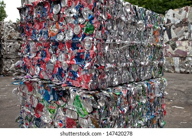 FAIRFAX, VA - JULY 24: Bales of crushed aluminum cans waiting at an undisclosed recycling facility on July 24, 2013 in Fairfax, VA. The cans will be sent to an aluminum foundry.