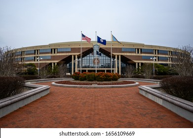 Fairfax, VA / USA - 02-20-20: The Fairfax County Government Center (Taj Mahal) Board of Supervisors meetings, tax administration, Human Resources, Celebrate Fairfax & other county business occur here.