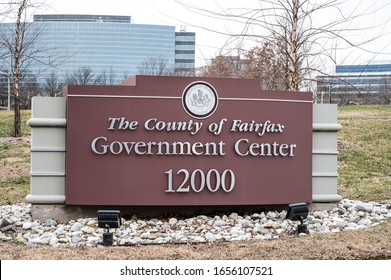 Fairfax, VA / USA - 02-20-20: The entrance of the Fairfax County Government Center. Board of Supervisors meetings, tax administration, Human Resources, & other county business occur at this location.