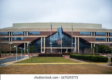 Fairfax, VA, USA -- February 25, 2020. A landscape photo of the Fairfax County Government Center, in Fairfax County, Northern Virginia.