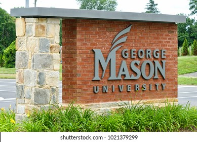 Fairfax, Virginia - June 15, 2015: The entrance sign to George Mason University's West Campus near historic downtown Fairfax.