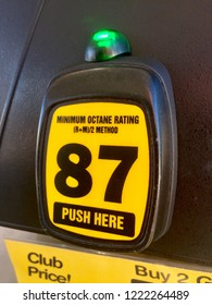 Fairfax, Virginia - November 3, 2018; Close-up of a fuel pump octane selector at a Safeway gas station.
