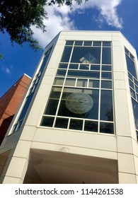 Fairfax, Virginia, USA - July 28, 2018: The Johnson Center at George Mason University is the biggest and busiest student center on its Fairfax campus and well-known to students and faculty alike.