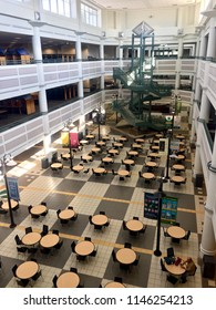Fairfax, Virginia, USA - July 28, 2018: View looking into the atrium of George Mason University's Johnson Center student center at the University's main campus.