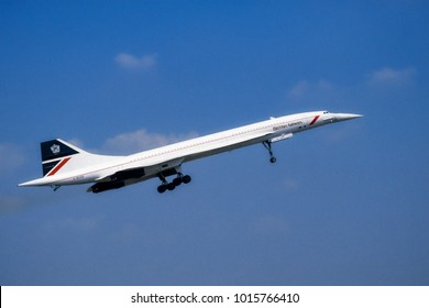Fairford Gloucester UK 07/20/1996: British Airways Concorde G-BOAB coming into land with landing gear fully extended