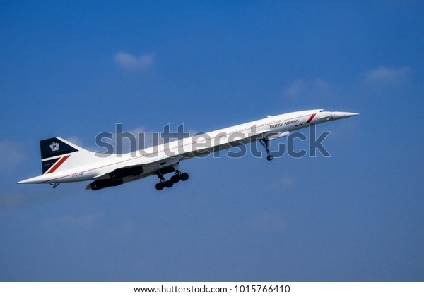 Fairford Gloucester UK 07.20.1996: British Airways Concorde G-BOAB coming into land with landing gear fully extended