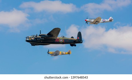 Fairford, Gloucestershire, England - 07/15/18: Lancaster Bomber, SuperMarine Spitfire, P51 Mustang at RIAT Air Show 2018