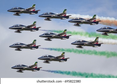 Fairford, Gloucestershire, UK - July 10th, 2016: The Italian Air Force Frecce Tricolori Display Team perform at Fairford International Air Tattoo 2016