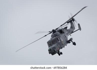 Fairford, Gloucestershire, UK - July 10th, 2016: Royal Navy Black Cat Augusta Westland Lynx Wildcat Display Team