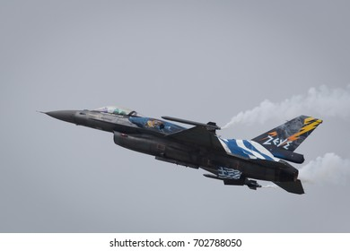 Fairford, Gloucestershire, UK - July 10th, 2016: Greek Air Force Lockheed Martin General Dynamics F-16 Fighting Falcon completes its Aerobatic Display at Fairford International Air Tattoo RIAT