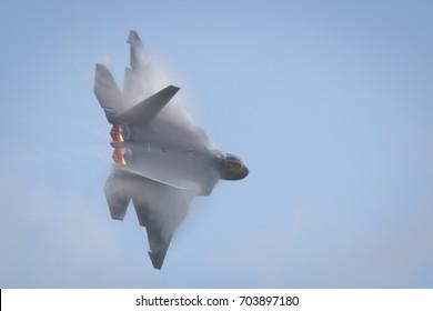 Fairford, Gloucestershire, UK - July 10th, 2016: Lockheed Martin F-22 Raptor performing at Fairford International Air Tattoo