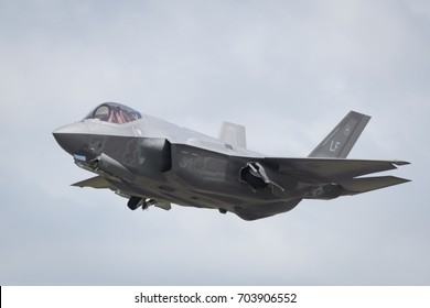 Fairford, Gloucestershire, UK - July 10th, 2016: An RAF Lockheed Martin F-35 Lightning II displays at Fairford International Air Tattoo