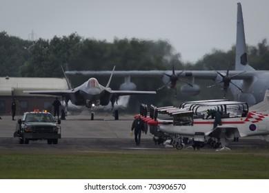 Fairford, Gloucestershire, UK - July 10th, 2016: An RAF Lockheed Martin F-35 Lightning II displays at Fairford International Air Tattoo