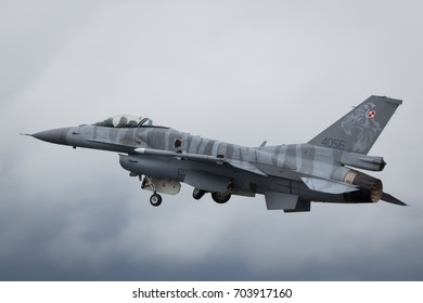 Fairford, Gloucestershire, UK - July 10th, 2016: Lockheed Martin General Dynamics F-16 Fighting Falcon completes its Aerobatic Display at Fairford International Air Tattoo RIAT