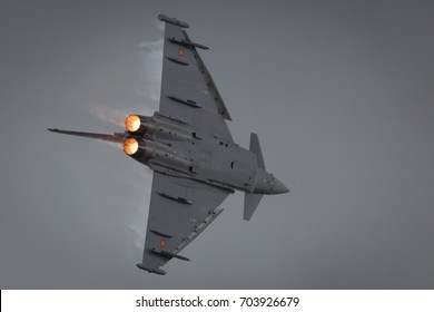 Fairford, Gloucestershire, UK - July 10th, 2016: The Royal Air Force Euro Fighter Typhoon performs at Fairford International Air Tattoo 2016