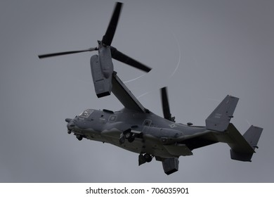 Fairford, Gloucestershire, UK - July 10th, 2016: a USAF Bell Boeing V-22 Osprey performs at Royal International Air Tattoo