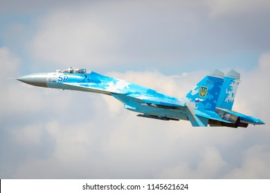 Fairford, Gloucestershire, UK - July 14th, 2018: Ex-Russian Soviet Cold War Ukrainian Sukhoi SU-27 Flanker Displays at the Fairford International Air Tattoo 2018