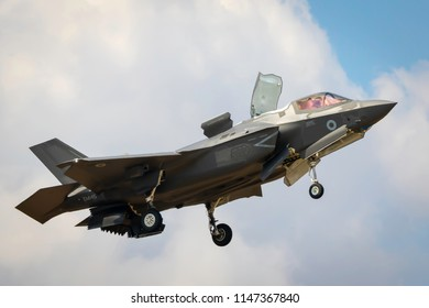 Fairford, Gloucestershire, UK - July 14th, 2018: An RAF Lockheed Martin F-35 Lightning II displays at Fairford International Air Tattoo