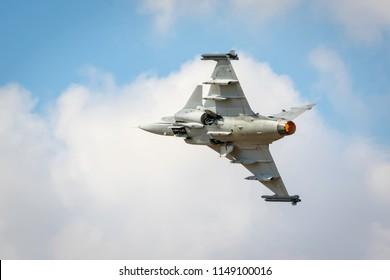 Fairford, Gloucestershire, UK - July 14th, 2018: Saab JAS 39 Gripen displaying at Fairford International Air Tattoo 2018