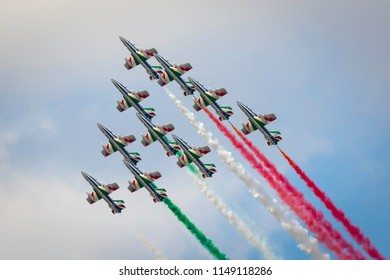 Fairford, Gloucestershire, UK - July 14th, 2018: The Italian Air Force Tricolori performs at Fairford International Air Tattoo 2018