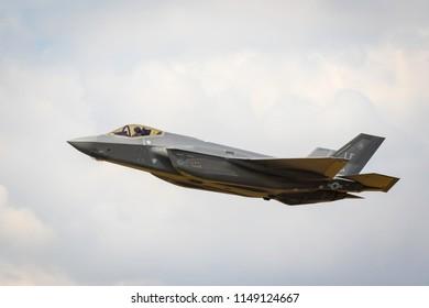 Fairford, Gloucestershire, UK - July 14th, 2018: An RAF Lockheed Martin F-35 Lightning II displays at Fairford International Air Tattoo