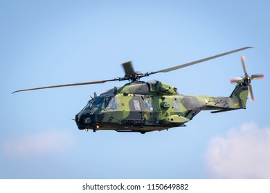 Fairford, Gloucestershire, UK - July 14th, 2018: NH Industries NH90 TTH Finish Army Helicopter Displays at the Royal International Air Tattoo 2018