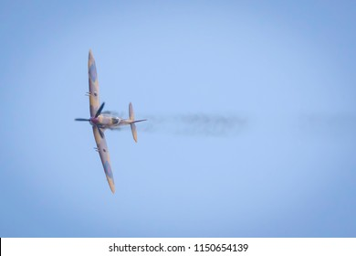 Fairford, Gloucestershire, UK - July 14th, 2018: A Supermarine Spitfire performs at the Royal International Air Tattoo 2018