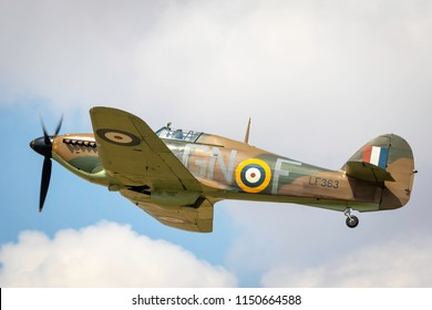 Fairford, Gloucestershire, UK - July 14th, 2018: : A Hawker Hurricane performs at the Royal International Air Tattoo 2018