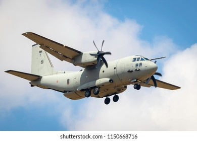 Fairford, Gloucestershire, UK - July 14th, 2018:  Italian Air Force Alenia Aermacchi C-27J Spartan displays at Fairford International Air Tattoo 2018