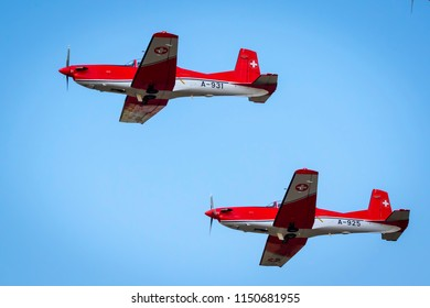 Fairford, Gloucestershire, UK - July 14th, 2018:  Swiss Air Force Pilatus PC-7 displaying Fairford International Air Tattoo 2018