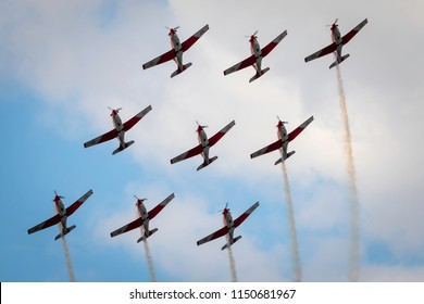 Fairford, Gloucestershire, UK - July 14th, 2018:  Swiss Air Force Pilatus PC-7 displaying Fairford International Air Tattoo 2018