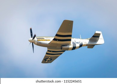Fairford, Gloucestershire, UK - July 14th, 2018:  Vintage P-51 Mustang displaying Fairford International Air Tattoo 2018