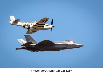 Fairford, Gloucestershire, UK - July 14th, 2018:  US Air Force Heritage Flight, P-51 Mustang, Spitfire and F-35 Lightning 2 displaying Fairford International Air Tattoo 2018