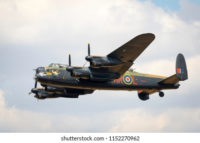 Fairford, Gloucestershire, UK - July 14th, 2018: An RAF BBMF Avro Lancaster performs at the Royal International Air Tattoo 2018