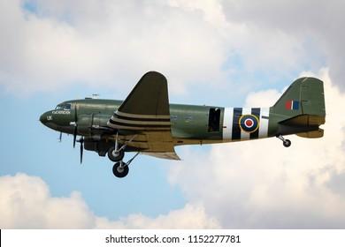 Fairford, Gloucestershire, UK - July 14th, 2018: An RAF BBMF DC-3 Dakota performs at the Royal International Air Tattoo 2018