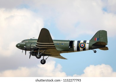 Fairford, Gloucestershire, UK - July 14th, 2018: An RAF BBMF DC-3 Dakota performs at the Royal International Air Tattoo 2018