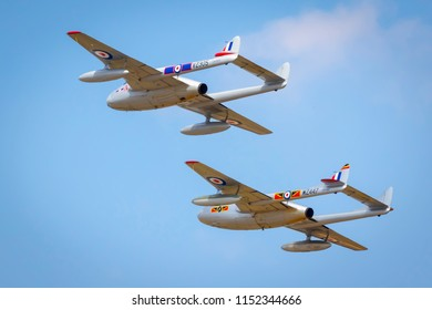 Fairford, Gloucestershire, UK - July 14th, 2018: A De Havilland Vampire and Venom display at the Royal International Air Tattoo 2018