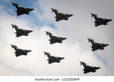 Fairford, Gloucestershire, UK - July 14th, 2018: The Royal Air Force Euro Fighter Typhoon formation at Fairford International Air Tattoo 2018