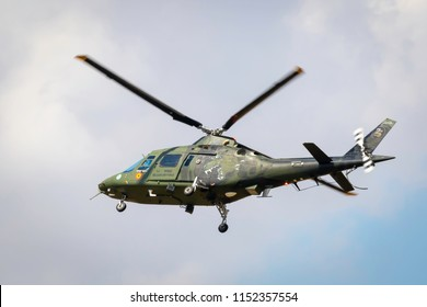 Fairford, Gloucestershire, UK - July 14th, 2018: A Belgian Air Force Augusta A109 Hirundo displays at the Royal International Air Tattoo 2018