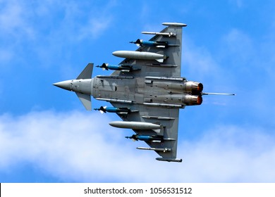 Fairford, Gloucestershire, UK - July 16, 2011: A Eurofighter Typhoon FGR.4 , IPA5 test aircraft flying in a blue sky